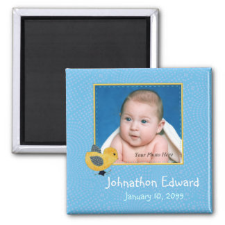 Photo Birth Annoucement Cute Baby Chick 2 Inch Square Magnet