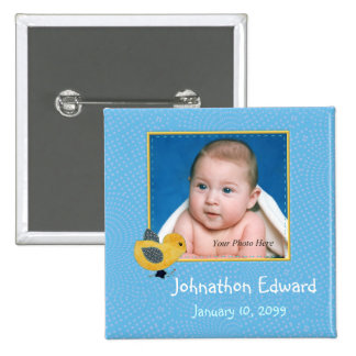 Photo Birth Annoucement Cute Baby Chick Pinback Button