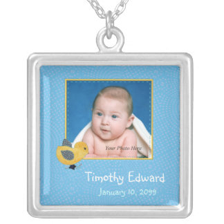 Photo Birth Annoucement Cute Baby Chick Square Pendant Necklace