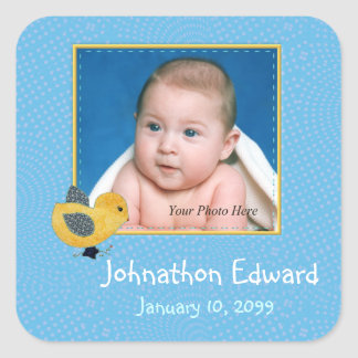 Photo Birth Annoucement Cute Baby Chick Square Sticker