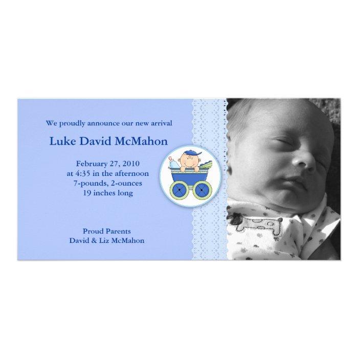 Photo Birth Announcement 8x4 Stroller Baby Boy