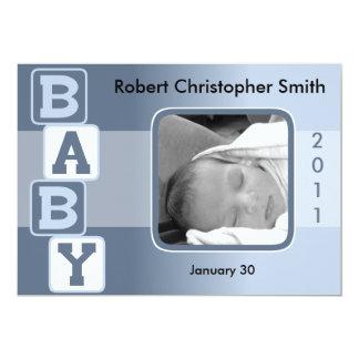 Photo Birth Announcement - Baby Boy with Blocks