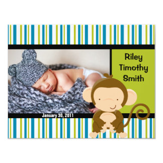 Photo Birth Announcement - Baby Boy with Monkey