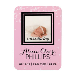 Photo Birth Announcement | Baby Girl Pink Hearts Magnet