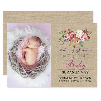 Photo Birth Announcement Baby Girl Stats Burlap