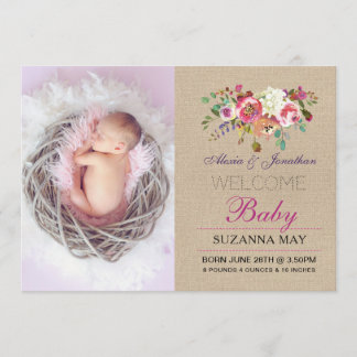 Photo Birth Announcement Baby Girl Stats Burlap