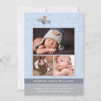 Photo Birth Announcement Card | Boy Airplane Theme
