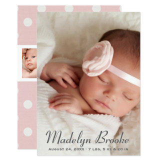 Photo Birth Announcement Card | Pink Polka Dots