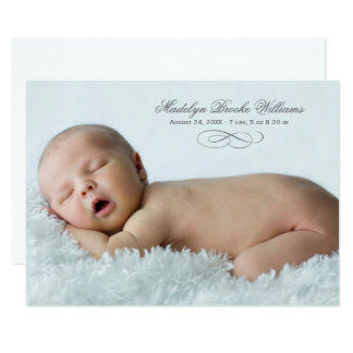 Photo Birth Announcement Card | Script Elegance