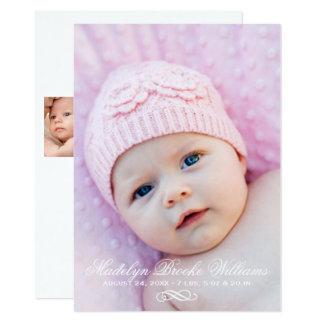 Photo Birth Announcement Card | Script Elegance
