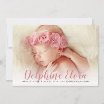 Photo Birth Announcement Card | Statement Name