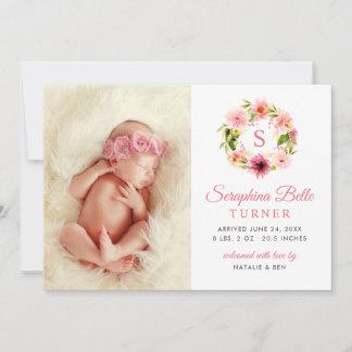 Photo Birth Announcement Card | Watercolor Wreath