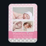 "Photo Birth Announcement | Chevron Baby Girl Magnet<br><div class=""desc"">Modern and chic baby birth announcement magnets feature three photos of your sweet little girl framed by stylish lattice and polka dot patterns. White,  light pink,  bright pink,  and soft pewter gray color scheme.</div>"