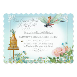 Photo Birth Announcement Fairy Bees Dragonfly