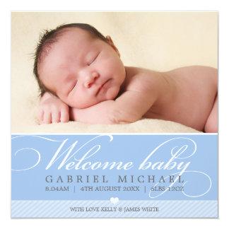 PHOTO BIRTH ANNOUNCEMENT lovely script type blue