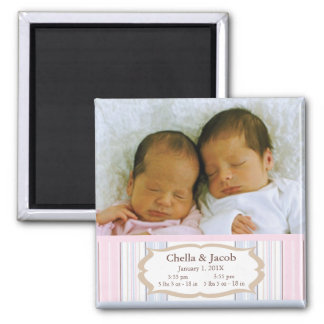 Photo Birth Announcement Magnets - Twins