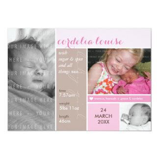 PHOTO BIRTH ANNOUNCEMENT mondrian girl pink