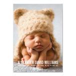 "Photo Birth Announcement   Simple Elegance 4.5"" X 6.25"" Invitation Card"