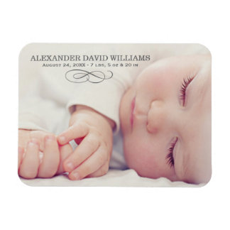 Photo Birth Announcement | Simple Elegance Flexible Magnets