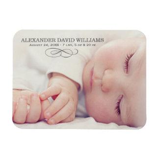 Photo Birth Announcement | Simple Elegance Rectangular Photo Magnet