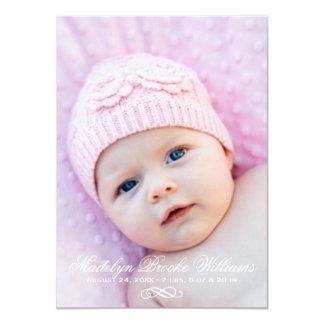 "Photo Birth Announcement   Simple Script Elegance 4.5"" X 6.25"" Invitation Card"