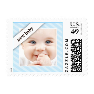 Photo Birth Announcement Striped Baby Blue Postage