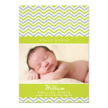 "PHOTO BIRTH ANNOUNCEMENT  sweet chevron lime green 5"" X 7"" Invitation Card"