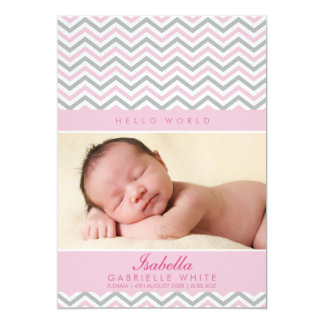 PHOTO BIRTH ANNOUNCEMENT : sweet chevron pale pink