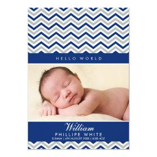 """PHOTO BIRTH ANNOUNCEMENT  sweet chevron royal blue 5"""" X 7"""" Invitation Card"""