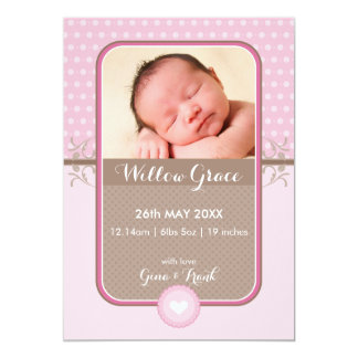 PHOTO BIRTH ANNOUNCEMENT sweet polka dot pink