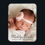 "Photo Birth Announcement | Sweet Script Magnet<br><div class=""desc"">Birth announcement magnets feature a portrait newborn photo with a simple and chic name and birth stats overlay design. Personalize with an engagement photo and custom text. Charcoal black text color can be modified.</div>"