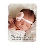 Photo Birth Announcement | Sweet Script Magnet<br><div class='desc'>Birth announcement magnets feature a portrait newborn photo with a simple and chic name and birth stats overlay design. Personalize with an engagement photo and custom text. Charcoal black text color can be modified.</div>