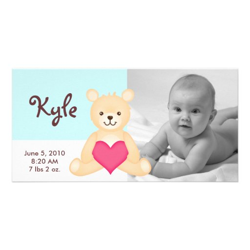 Photo Birth Announcement Teddy - Blue Picture Card