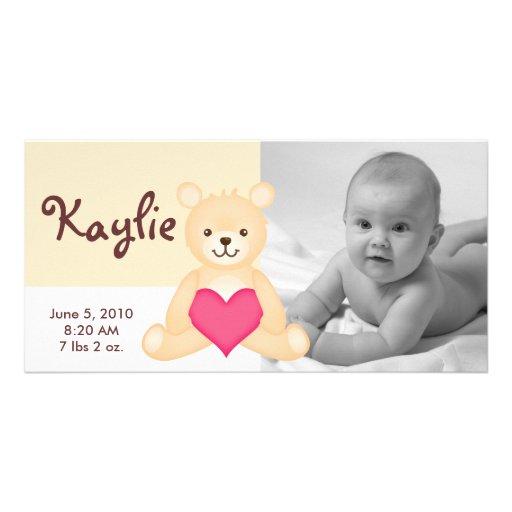 Photo Birth Announcement Teddy - Yellow Photo Card Template