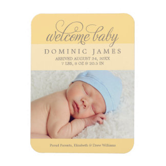 Photo Birth Announcement | Yellow Magnet