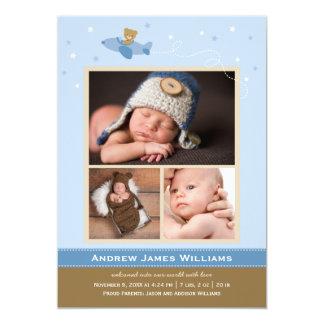 Photo Birth Announcements | Airplane Theme for Boy