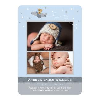 "Photo Birth Announcements | Airplane Theme for Boy 5"" X 7"" Invitation Card"