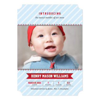 "Photo Birth Announcements   Baseball Theme 5"" X 7"" Invitation Card"