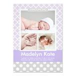 "Photo Birth Announcements | Chic Pattern Baby Girl 5"" X 7"" Invitation Card"