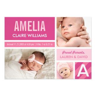 Photo Birth Announcements Color Block Collage