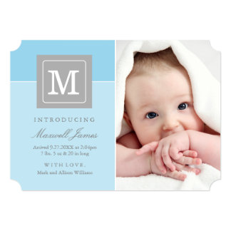 Photo Birth Announcements | Letter Block Baby Boy