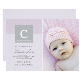 Photo Birth Announcements | Letter Block Baby Girl