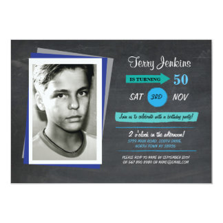 Photo Birthday Blue Chalk Teal Invite