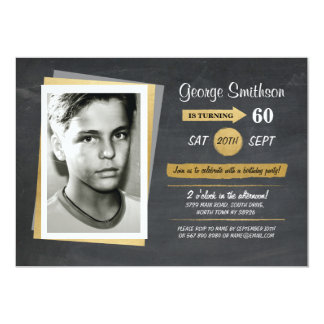 Photo Birthday Gold Chalkboard Invitations