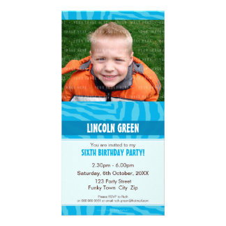 PHOTO BIRTHDAY INVITATIONS :: animal print 1 Personalized Photo Card