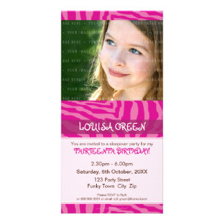 PHOTO BIRTHDAY INVITATIONS :: animal print 3 Photo Card Template