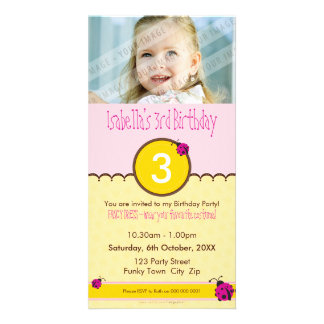 PHOTO BIRTHDAY INVITATIONS :: ladybird 1P Photo Card