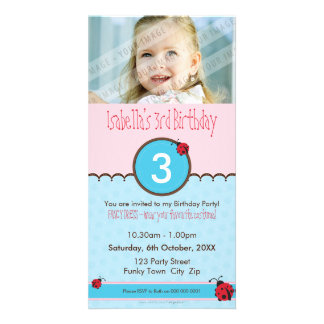 PHOTO BIRTHDAY INVITATIONS :: ladybird 3P Photo Card