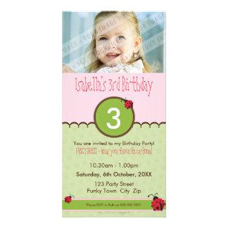 PHOTO BIRTHDAY INVITATIONS :: ladybird 4P Photo Card