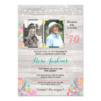 Photo Birthday Party Floral Rustic Wood 2 Pictures Card